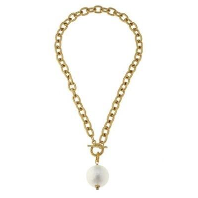 Cotton Spun Pearl Bead On Gold Chain