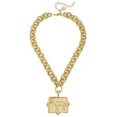 Handcast Horse Charm On Gold Chain
