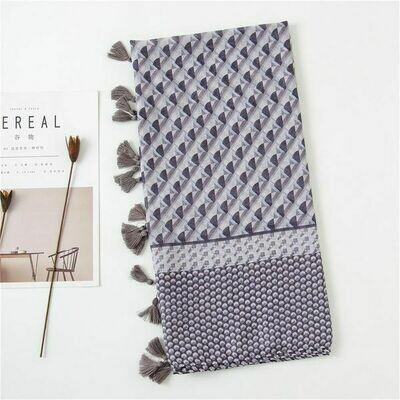 Cotton & Linen Geometric Gray Scarf