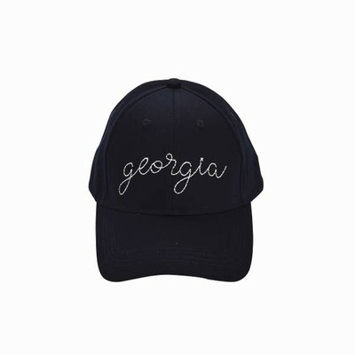 Georgia Embroidered Navy Hat