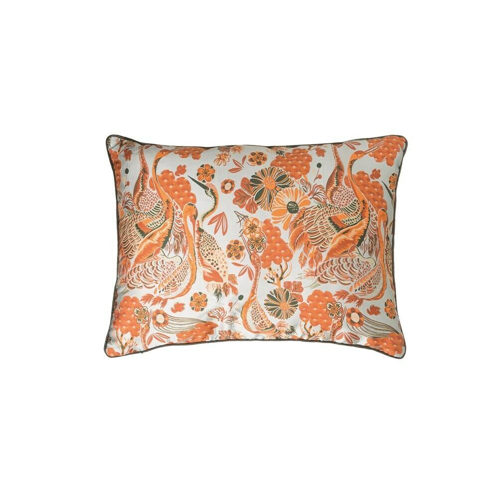 Orange and Cream Florals & Cranes Pillow