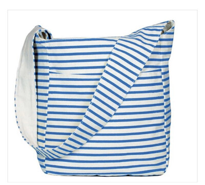 Blue & White Striped Sling Tote