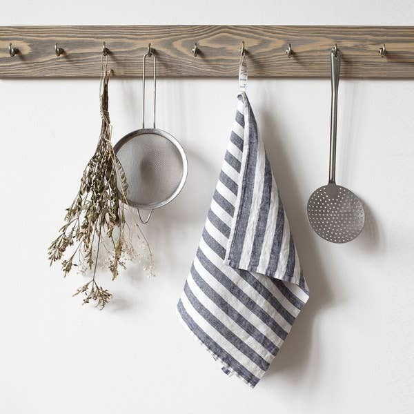 Grey & White Linen Dishtowel