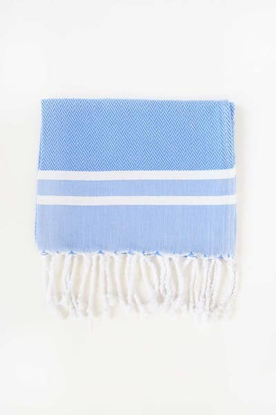 Blue and White Herringbone Guest Towel