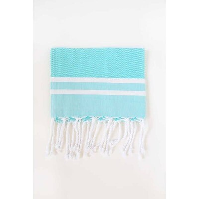 Aqua and White Herringbone Guest Towel