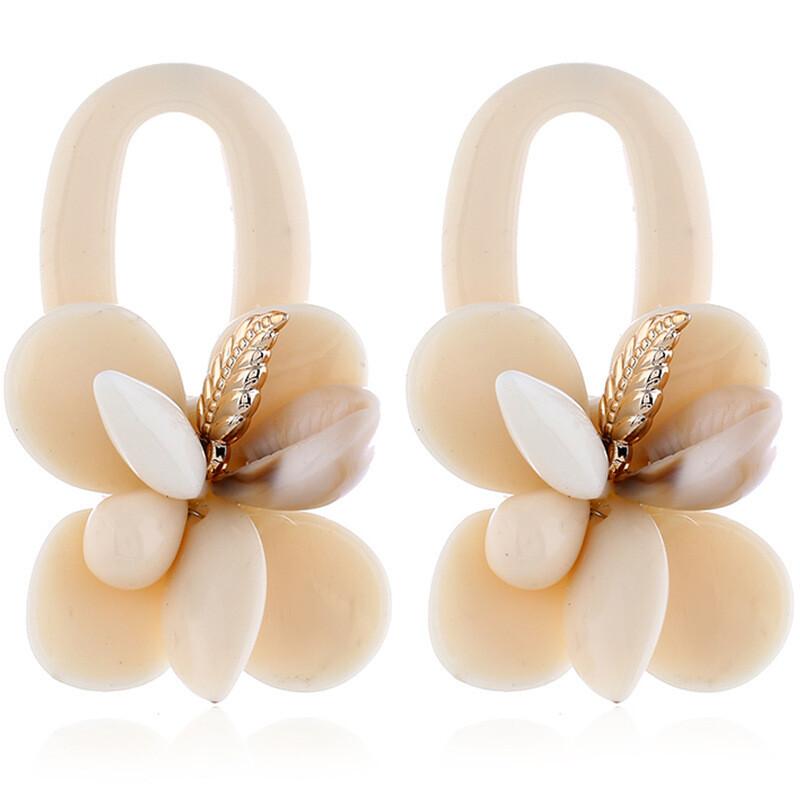 Boho Shell Earrings White