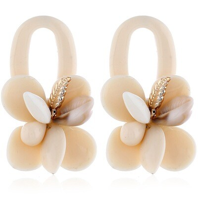 Boho Shell Earrings White