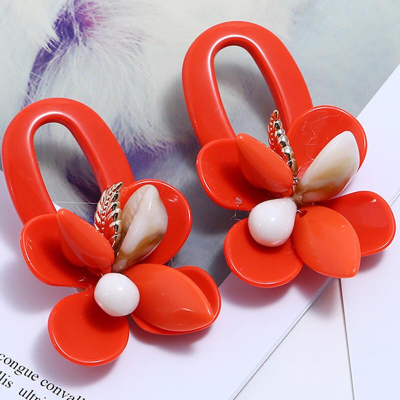 Boho Shell Earrings Red
