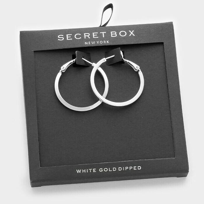 White Gold Dipped Metal Hoop Earring