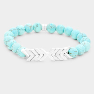 Turquoise and Chevron Stretch Bracelet