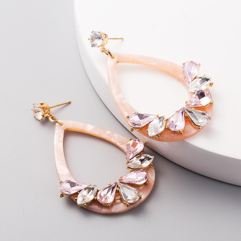 Acrylic Pink Earrings with Rhinestones