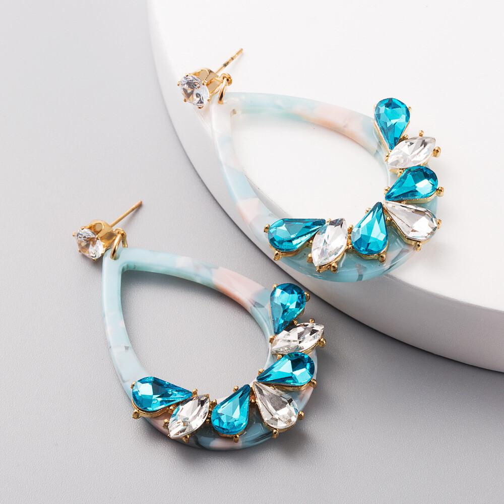 Acrylic Blue Earrings with Rhinestones