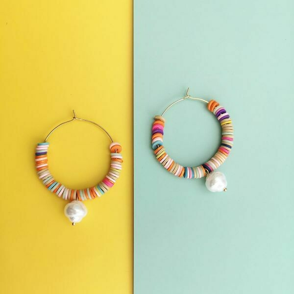 Bohemian Pearl Drop Hoops
