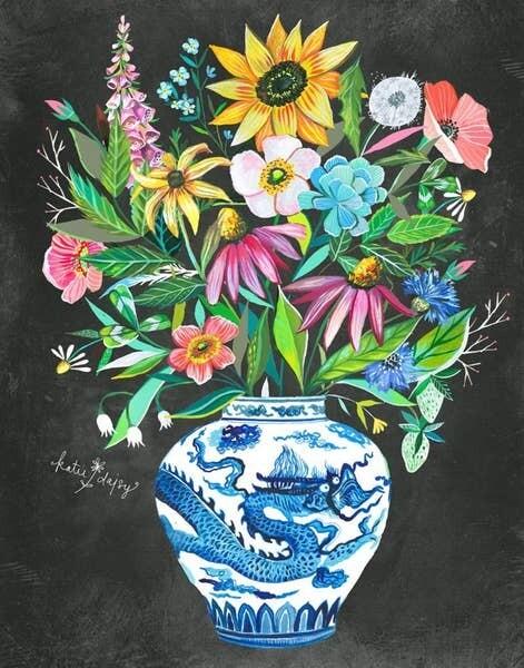 8x10 Flowers in Blue Urn