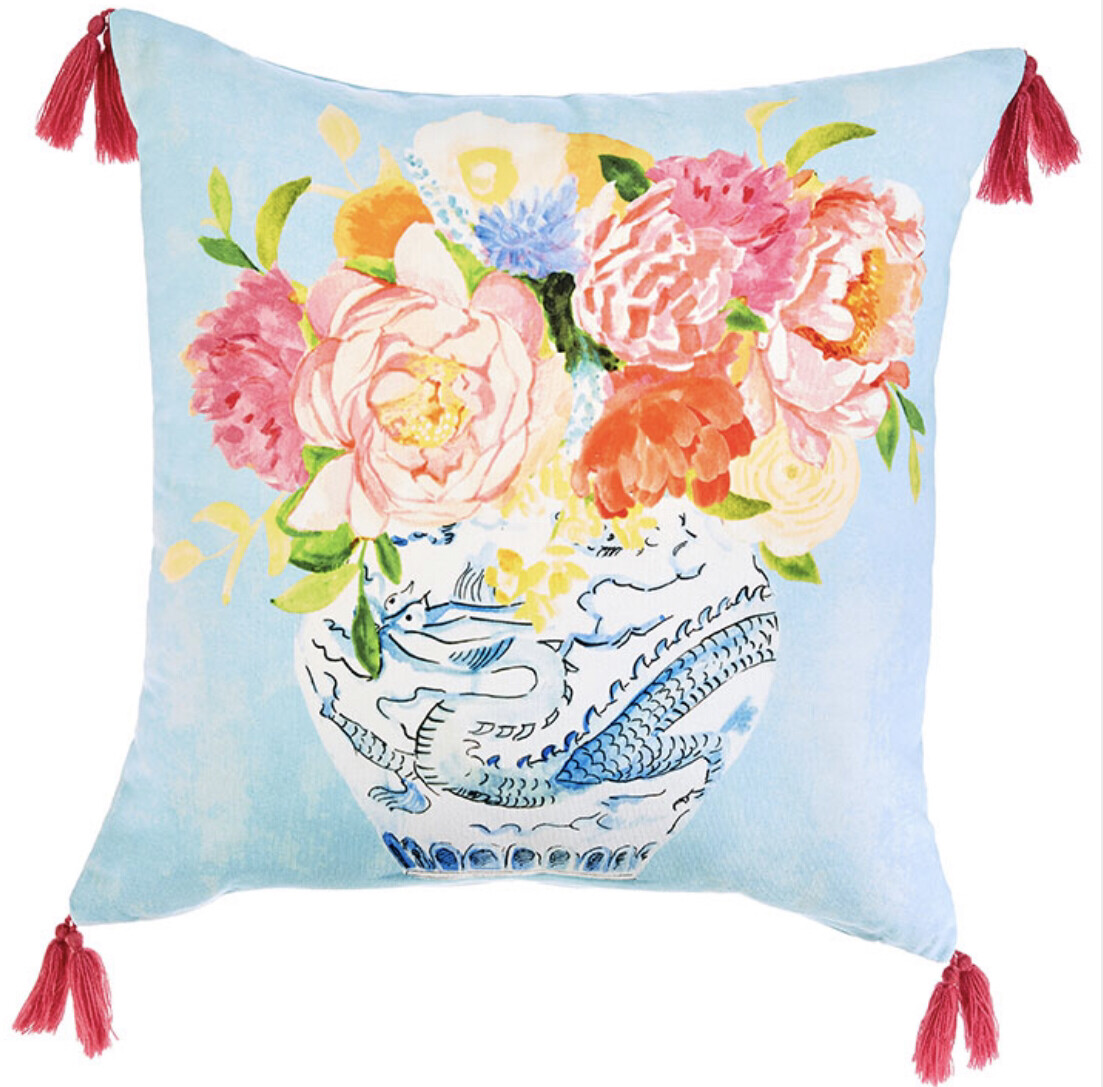"Blue Vase Pillow 18""x18"""