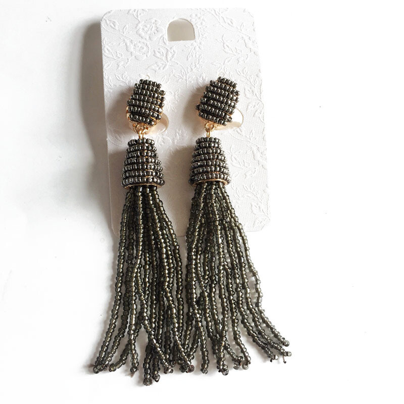Black Rice Bead Tassel Earrings