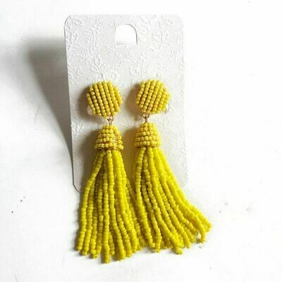 Yellow Rice Bead Tassel Earrings
