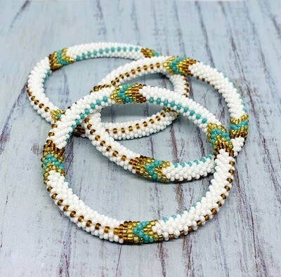 Nepal Beaded Bracelet in Winter White