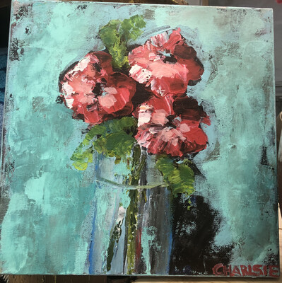 12x12 Trio of Red by Charlsie Sprewell