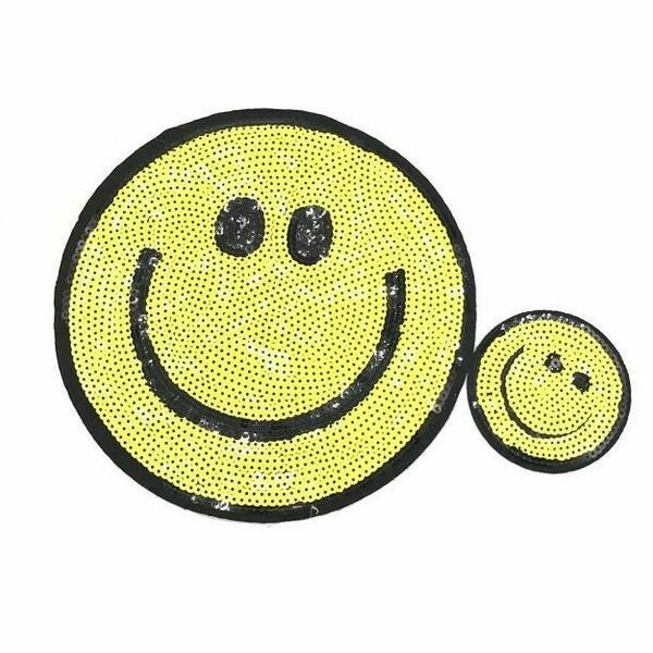 Sequined Happy Face Patch