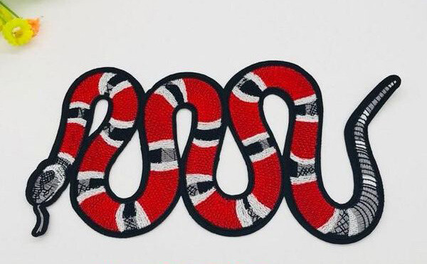 Embroidered Red Snake Patch