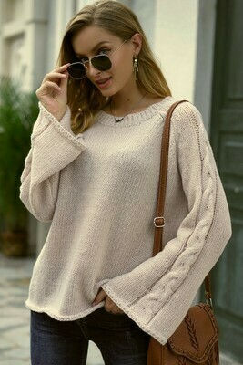 Bell Sleeve Tunic Sweater.. Light Apricot Color