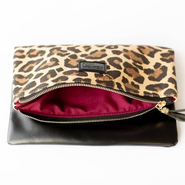 Fold Over Clutch.. Leopard/Black