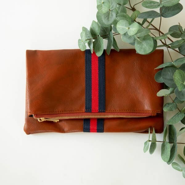 Preppy Stripe Fold Over Clutch.. Navy/Red