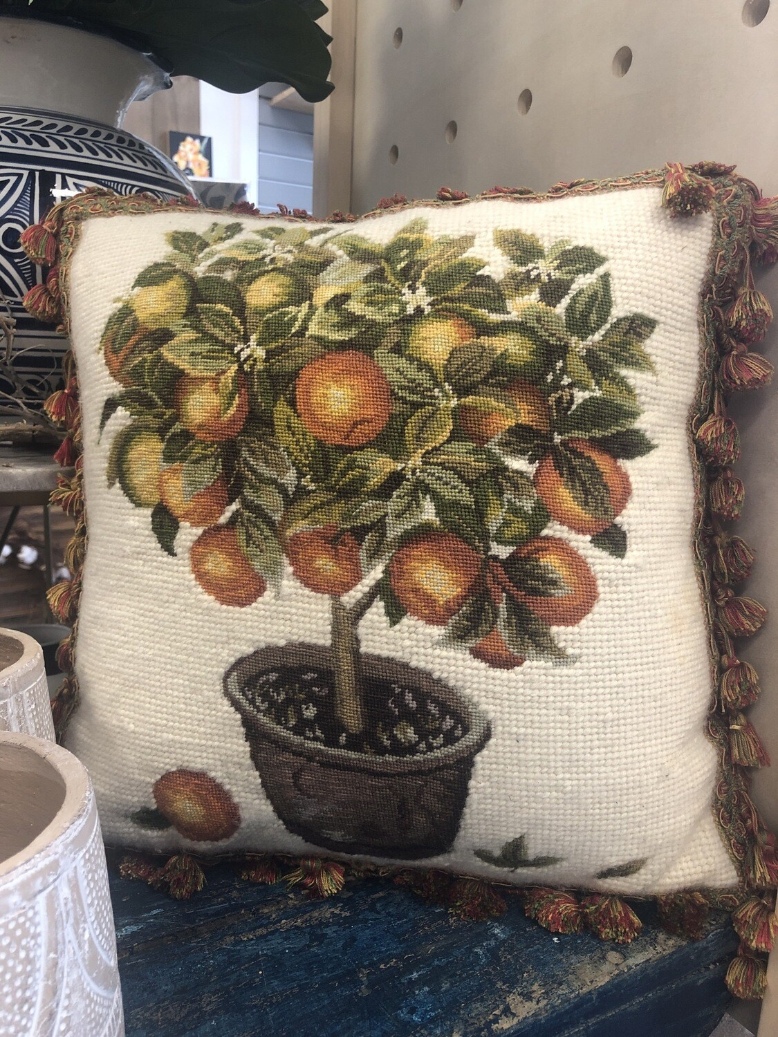 Needlepoint Orange Tree Pillow