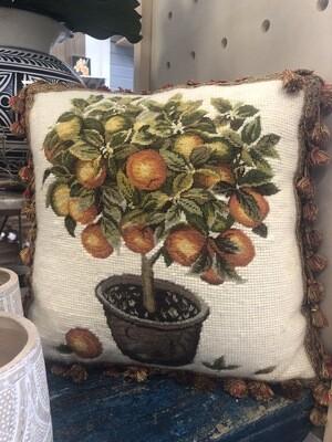 Needlepoint Orange Tree Pillow