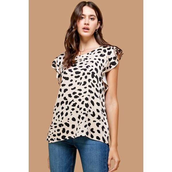 Leopard Print with Double Ruffle Sleeve