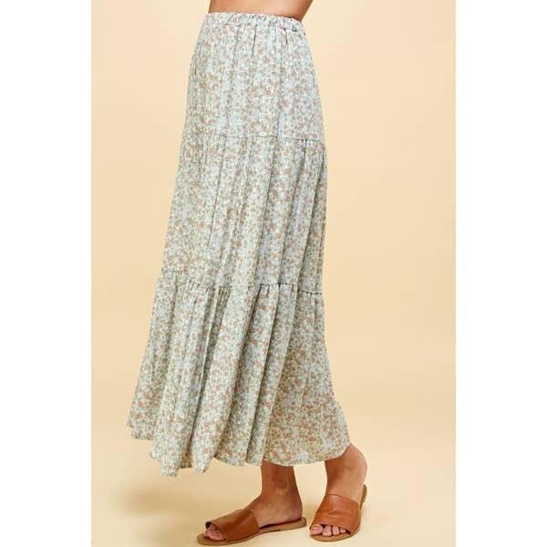 Three Layered Maxi Floral Print Skirt