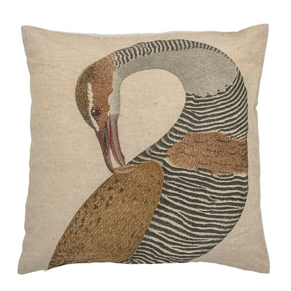 Linen Bird Embroidered Pillow
