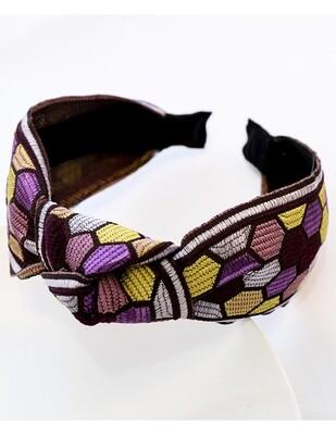 Embroidered Geometric Purple Headband