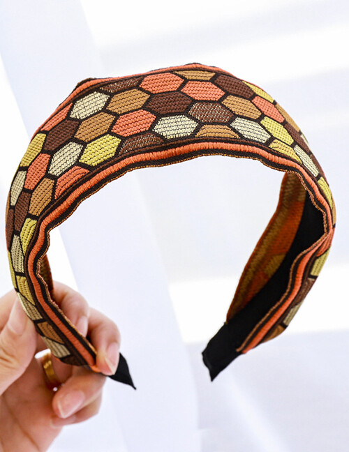 Embroidered Geometric Brown Headband Flat
