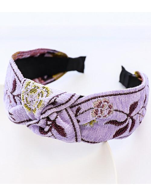 Embroidered Lavender Headband