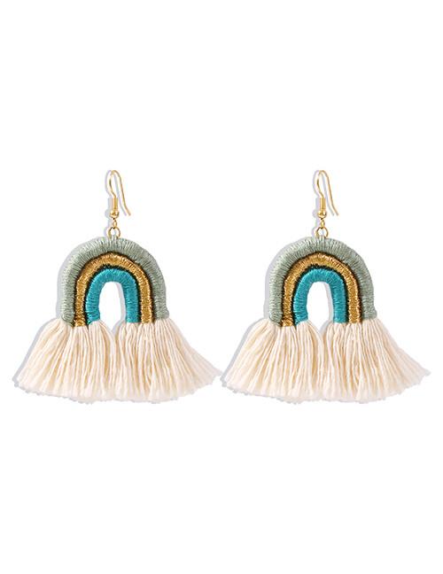 Rainbow Tassel Earrings Blue
