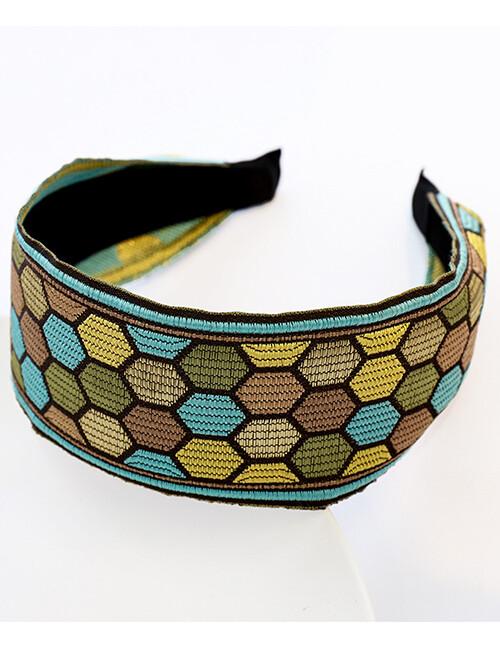 Embroidered Geometric Teal Headband Flat