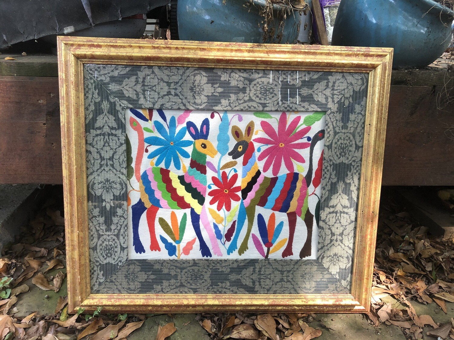 Framed Mexican Otomi Embroidery