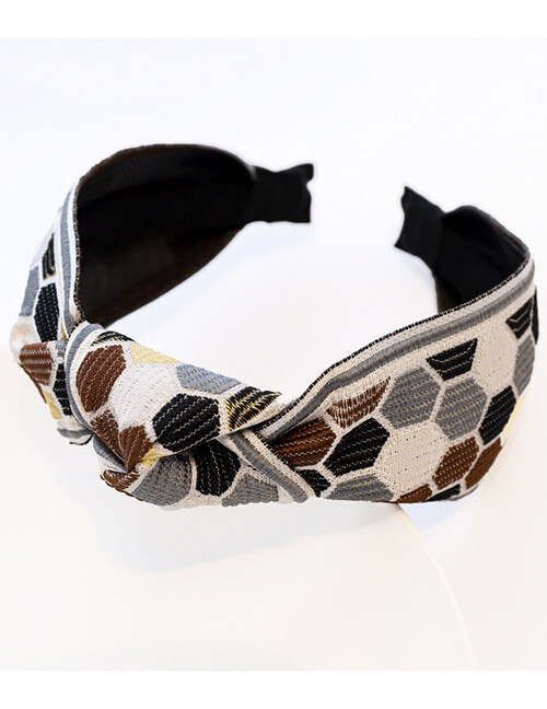 Embroidered Grey Geometric Headband