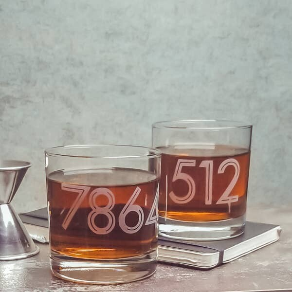 30263 Etched Whiskey Glass