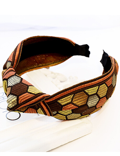 Embroidered Brown Geometric Headband