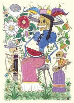 Skeleton Woman with Sandia Postcard