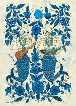 Skeleton Mermaids Postcard
