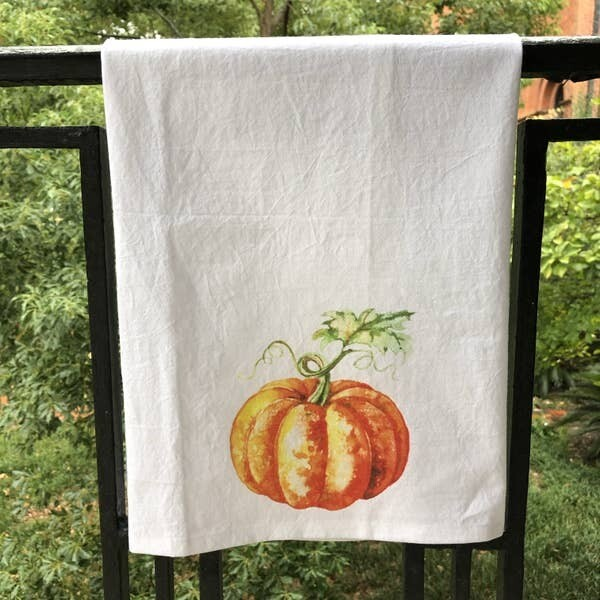 Fall Watercolor Pumpkin Kitchen Towel