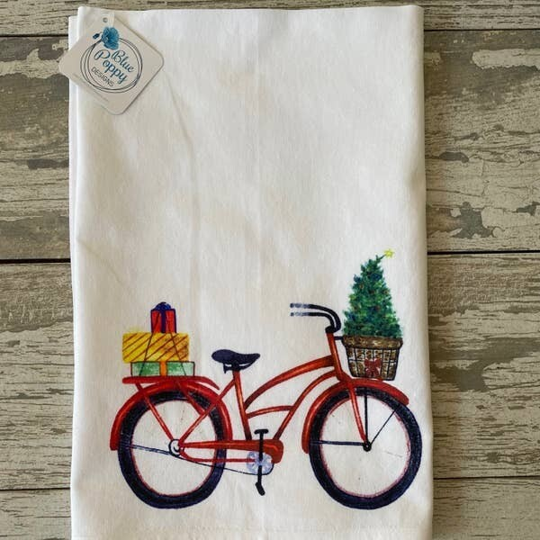 Christmas Watercolor Bicycle Kitchen Towel