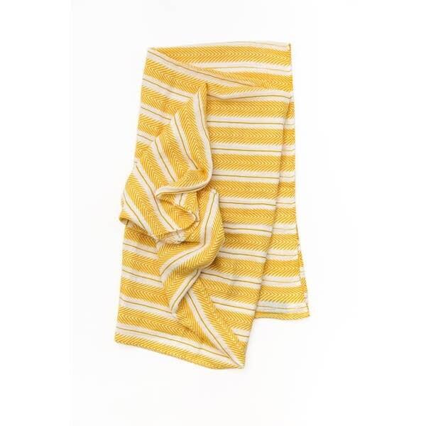 Mustard Herringbone Swaddle Blanket