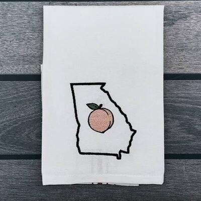 Georgia Peach Embroidered Dishtowel