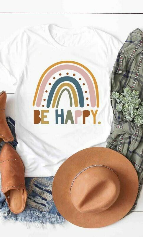Be Happy White Tee