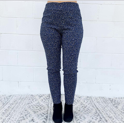 Eric Stretch Pants in Blue Animal Print